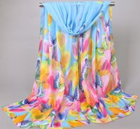 Wholesale Scarf Chiffon Mix - Special Price Summer Beach Sarongs For Women Lady Outdoor Sunscreen Chiffon Scarf Butterfly Pattern Scarves Mix Colors XQ 251