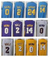 Wholesale Lakers Jersey Xxl - 2017-18 New #0 Kyle Kuzma 2 Lonzo Ball 24 Kobe Bryant Jersey Men 14 Brandon Ingram stitched Lakers Jerseys Cheap sales Yellow White