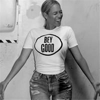 beyonce t shirt toptan satış-Toptan-Beyonce BEY IYI Mektup Baskı Komik Kadın T Shirt Seksi Üstleri Moda Yaz 2016 Harajuku Tshirt Femme Rahat Beyaz Tee
