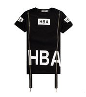 2017 Men's Fashion Hip Hop T-Shirt Zipper Cappuccio laterale HBA da aria Harajuku t-shirt per uomini Spinale X-ray Streetwear T-shirt