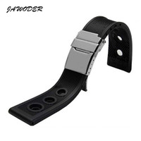Wholesale Dove Bands - JAWODER Watchband 22mm  24mm Black Waterproof Diving Silicone Rubber Watch Band Strap Silver Stainless Steel Clasp for B-R-E Watch