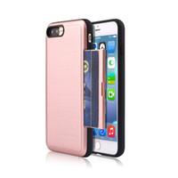 Wholesale Protection Plug - Plug In Card Case For Iphone 7 6 6s Plus Samsung J5 J7 Prime LG V20 Full Protection Shockproof Cover With Card Holder OPPBAG