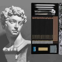 Wholesale Eraser Big - Sketch Pencil Set Sketching Case Beginners Carbon Pencil Professional Drawing Pen Charcoal Eraser Cutter Kit Bag Art Craft CCA7869 20set