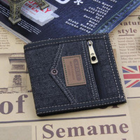 Wholesale Note Jeans - Trendy Casual Notecase Jeans Pocket Pattern Short Canvas Wallets Open Closure Type Credit Card Holders Coin Purse for Men