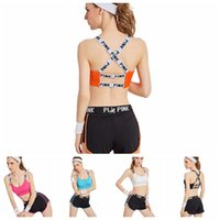 Wholesale Girls Underwear Fitness - PINK Tracksuit Women Pink Letter Yoga Suit Summer Sport Wear Fitness Bra Shorts Gym Top Vest Pants Running Underwear Set 100pcs OOA2959