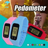 Wholesale Distance Pedometers - Digital LED Pedometer Run Step Walking Distance Calorie Counter Watch Fashion Design Bracelet Colorful Silicone Pedometer