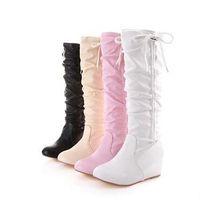 Wholesale Korean Women Flat Ankle Boots - Korean version fashion Women Sweet High boots Girls high sleeve winter student shoes spring autumn fine velvet boots
