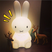 Wholesale Animal Night Lights Kids - Wholesale- 50 cm Baby Bed Room Rabbit Night light Anti-fall Children Lamp Christmas Gift Bedside Decoration Kids Lovely Lights
