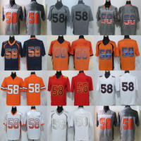 Wholesale China Factory Outlets - Factory Outlet Mens DEN 58 Von Miller Grey Orange White Game Best Quality Stitched Football Jerseys free shipping size S-4XL from China