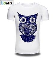 Wholesale Clothing Owl Designs - LOMIS Fashion T Shirt Men Brand Clothing 2017 Fashion Men's Printed Owl Design Tops & Tees T Shirt Men Short Sleeve Slim T shirt Homme M-3XL