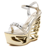 Wholesale silver platform wedge heels - Fashion Crystal Gladiator Sandals New Bling Sexy High Heels Platform Wedges Transparent Sandals Casual Gold Sliver Shoes Woman Large Size