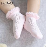 Wholesale Children Lace Socks - Baby socks fashion toddler kids knitting socks kids hollow mesh ship socks children ruffle lace princess Stockings summer girl sock T3251