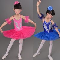 Wholesale Girls Yellow Ballet Costume - 6 Color Blue Red White Children's Swan Costume Kids Ballet Dance Costume Stage Professional Ballet Tutu Dress For Girl