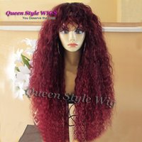 Wholesale Premium Water - Premium Natural Water Beach Curly Hair Wig Synthetic Heat Resistant Purple Burgundy Color Luxury African American Afro Kinky Curly Wigs