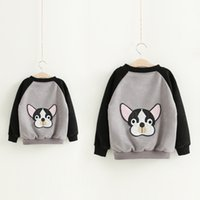 Wholesale Pink Velvet Clothing Wholesale - Mother and kids clothes boys girls cute dog printed jacket womens cartoon printed deer velvet zipper outwear 2017 family autumn coat T5032