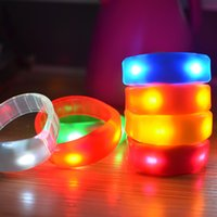 Wholesale Finger Bangles - 7 Color Sound Control Led Flashing Bracelet Light Up Bangle Wristband Music Activated Night light Club Activity Party Bar Disco Cheer toys