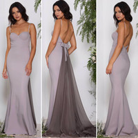 Wholesale Detachable Train Bridesmaids Dress - Sexy Backless Simple Bridesmaid Dresses 2017 New Design Mermaid Spaghetti Straps Sweetheart with Detachable Train Formal Evening Party Gowns