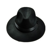 negro sombrero de ala ancha hombres al por mayor-Retro Black Wool Jazz Cap  Hat 6b712f48114