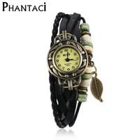 Vente en gros - Vintage Infinity Wrap BraceletsBangle Tricot Leafs Beads Rope Chain Multilayer Faux Leather Quartz Bracelet Watch For Women