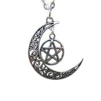 Wholesale wicca pendant - 12pcs lot Silver Moon and Pentagram Necklace Crescent Moon Necklace Wicca Necklace Pentagram Jewelry