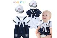 Wholesale Navy Boys Suit - 2017 Baby kids cute Navy suit boy romper 100% cotton Navy suit modeling one-piece clothes kids romper free shipping 2 colors