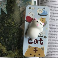 Wholesale Iphone5 Silicone Cartoon Covers - Squishy Cat Phone Case for iPhone5 5s 6 6S 6 plus 3D Silicone Case Cover for iPhone 7 7plus Cute Cartoon Phone Case