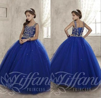 Wholesale Kids Pink Corset - 2017 New Royal Blue Junior Pre-teen Girls Pageant Dresses Sweetheart Crystal Beaded Ball Gown Long Corset Kids Flower Girls Dress