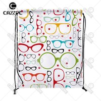 Wholesale Custom Printed Glasses - Wholesale- Seamless Glasses Pop Art Print Custom individual Nylon fabric Drawstring Backpack Gift Bag Pack of 4