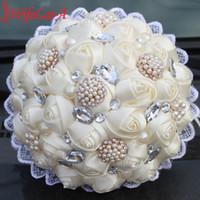 Wholesale Diy Lace Brooch - Hot sale 1Piece Ivory Silk Lace Rose Wedding DIY Artificial Flower Durable Heavy Crystal Pearl Brooch Bridal Bouquets W2233