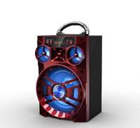 büyük müzik kutusu toptan satış-Büyük Ses HiFi Hoparlör Taşınabilir Bluetooth AUX Hoparlörler Bas USB Subwoofer Açık Müzik Kutusu Ile USB LED Işık TF FM Radyo