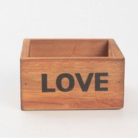 Wholesale Natural Flower Pots - Rustic Natural Wooden LOVE Letter Succulent Plant Flower Bed Pot Box Home Garden Planter Free Shipping