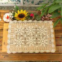 Wholesale Handmade Crocheted Tablecloths - Wholesale- yazi Handmade Cotton Hollow Floral Placemat Thread Crochet Table Mat Table Cover Tablecloths 40x60cm