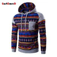 Wholesale Sweatshirt Chinese - Wholesale-GustOmerD 2016 Digital Printing Suit Men Patchwork Chinese National Style Hoodies Men Slim Fit Sweatshirt Men