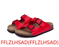 Wholesale Rubber Clogs Women - 2017 New Summer Beach Cork Slippers Sandals Casual Double Buckle Clogs 35---43