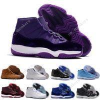 Wholesale Womens Shoe Denim Blue - Discount Retro (11)XI Space jam Legend blue black Velvet 72-10 Basketball shoes Mens Sports Running shoe Retro 11s bred womens Sneakers