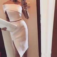 Wholesale sexy navy outfit online - Unique One Shoulder White Evening Dresses Women Side Slit Formal Events Outfits Short Mermaid Prom Formal Occasion Gowns