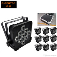effekträder groihandel-TIPTOP Gut Stadiums-Effekt-Licht 9 * 12W 4in1 DMX SLIM LED-Gleichheits-Licht RGBW Tyanshine-Lüfter Power IN / OUT 10IN1 Flight Packung mit Rädern