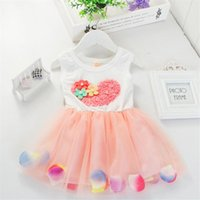 Wholesale Tutu Heart Dress Loving - 2017 Summer Girls Flower Tutu Dress with big love heart baby short sleeved dresses Children's Chiffon Dresses For 3-6T