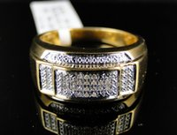 Wholesale Green Diamond Rings Yellow Gold - Mens Yellow Gold Finish Genuine Diamond Pinky Ring Band 1 10 Ct