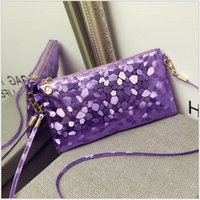 Wholesale Sequin Wedding Clutch - New High Quality Women Small Bags Ladies Shoulder Bags Korean Candy Colors Casual Clutch Wedding Party Sac A Main TRD-037