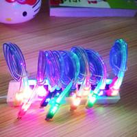 gülen yüz kablosu toptan satış-LED yıldırım Kablo Gülümseme Yüz Kabloları LED Renkli Mikro V8 Şarj Kablosu samsung s6 s7 kenar için Veri Light Up Flash Android Kablosu
