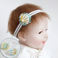 Оптовые 20шт модные милые блестки Felt Pearl Shell Girls Hairbands Solid Kawaii Lace Sea Shell Headbands Headware Accessories