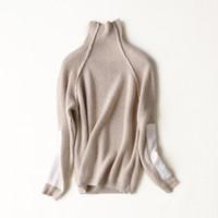 mode frauen nerz mantel großhandel-Art- und Weisepullover-Mantel Rollkragen-Patchworkhülse der Großhandels-Nerzkaschmir-Frauen onover Größe