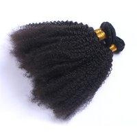 ingrosso tessuto reale dei capelli umani ricci-Capelli umani brasiliani estensioni ricci crespi 3Pcs Bundle di capelli umani non trattati afro ricci Foto reali Nessun groviglio Nessun capannone