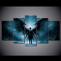 Wholesale Oil Painting Landscapes Dark - 5 Pcs Set Framed HD Printed Canvas Prints Wall Art anime dark angel with wings Painting Picture Print Home Decor Movie Canvas Painting