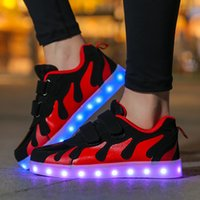 Wholesale Dance Sneakers Shoes Color - Led Luminous Shoes Boys Girls Fashion Light Up Casual Kids Color Flame USB charge Glowing Children Sneaker Dance Shoes