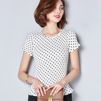 Wholesale Polka Dot Blouse Women Chiffon - 2017 New Summer Polka Dot T-Shirt Women Plus Size Short Sleeve Chiffon Blouse Slim O-neck Female Shirt Fashion