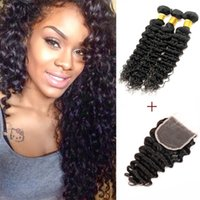 3 paquets avec dentelle Fermeture Couleur 2 4 Dark Brown Deep Wave Hair Bundles Raw Virgin Indien Brazilian peruvian Human Hair Extensions