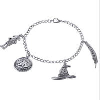 Wholesale ancient coin charms for sale - Group buy Movie Charm Bracelet Ancient Silver Pendant Bracelet Talking Hat Wingardium Leviosa Dobby Coin Charm Bangle Cuff Jewelry Christmas Gift