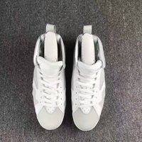 2017 homens grossistas DS Air Retro 7 PURE MONEY Men Basquete Sapatos Branco Metallic Silver Real Leather Sneakers Com Original Box Big